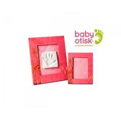 BABY OTISK - Sada pro otisk s ručně malovaným rámem a rámečkem na foto – staro růžová