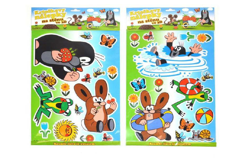 Dekorace Krtek nálepky na stěnu 3D 29x41cm 1list na kartě