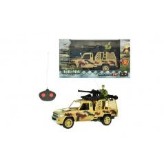 Auto RC vojenské na dálkové ovládání 27MHz plast 20cm na baterie se světlem asst 2 druhy
