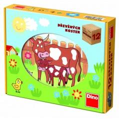 Dino obrázkové dřevěné kostky Domácí zvířátka 12 kostek