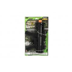 Teddies Pistole samopal plast 29cm na baterie se světlem se zvukem na kartě