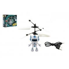 Teddies Vrtulníkový robot plast 13x11cm s USB kabelem na nabíjení svítící asst 2 barvy