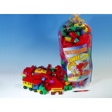 LORI Stavebnice LORI 500 balení pro školky plast 500ks v pytli 30x70x20cm
