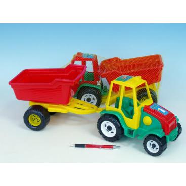 Teddies Traktor s vlekem plast 52cm asst 2 barvy v síťce