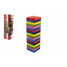 Teddies Hra Jenga věž dřevo 54ks barevných dílků hlavolam v krabičce 8x29cm