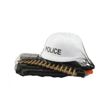 teddies Sada policie helma+samopal na setrvačník s doplňky plast v síťce