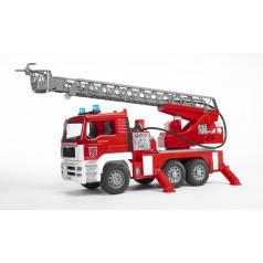 BRUDER 2771 MAN TGA hasičské auto s výsuvným žebříkem, pumpou, světly a zvuky
