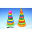 Teddies Skládanka pyramida s kroužky plast 28cm asst 2 druhy v síťce 12m+