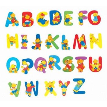 """Woody Písmeno s medvídkem """"K"""""""