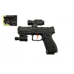 Teddies Pistole na vodní kuličky 6mm plast 17cm s laserem na baterie v krabici 21x16x3,5cm