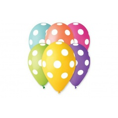 Smart Balloons Balonek nafukovací puntík 12'' průměr 30cm 5ks v sáčku