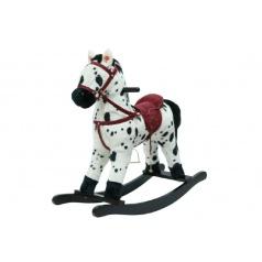 Kůň houpací bíločerný plyš na baterie se zvukem a pohybem nosnost 50kg v krabici