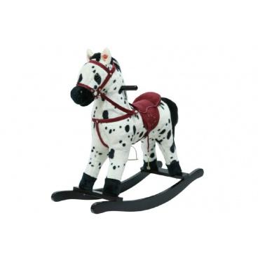 Teddies Kůň houpací bíločerný plyš na baterie se zvukem a pohybem nosnost 50kg v krabici