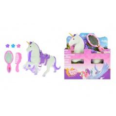 Teddies Jednorožec kůň česací s doplňky fliška 16cm v krabici 16x17x6cm