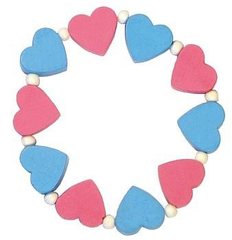 Dětský náramek s růžovými a modrými srdíčky