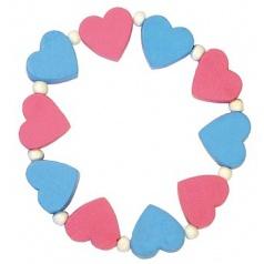 Detský náramok s ružovými a modrými srdiečkami