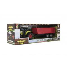 Teddies Traktor s vlekem plast 35cm na setrvačník na baterie se zvukem se světlem v krabici 39x13x13cm