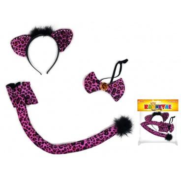 Dětský karnevalový kostým sada kočka s ocasem, čelenkou a motýlem
