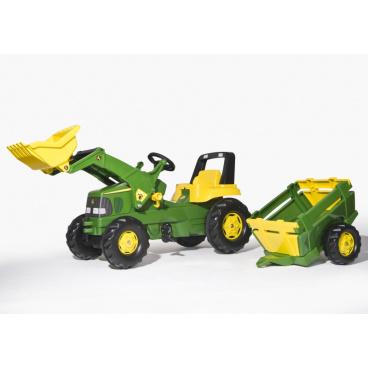 ROLLYTOYS Šlapací traktor Rolly Junior John Deere s nakladačem a vlekem (spec. nabídka 2015)