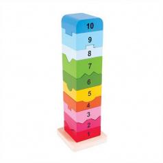 Rappa Bigjigs Baby Dřevěná motorická věž s číslicemi