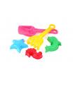 Teddies Sada na písek plast lopatka, hrabičky, 3ks bábovky 3 barvy v síťce 10x24x9cm 12m+