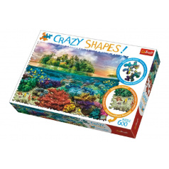 Trefl Puzzle Tropický Ostrov 600 dílků Crazy Shapes 68x48cm v krabici 40x27x6cm