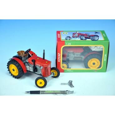 Kovap Traktor Zetor 25A červený na klíček kov 15cm 1:25 v krabičce