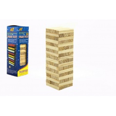Teddies Hra Jenga věž dřevo 48ks hlavolam v krabičce 7x23x7cm