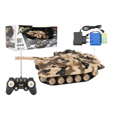 Teddies Tank RC plast 27cm 40MHz na baterie+dobíjecí pack se zvukem v krabici 37x17x19cm