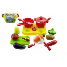 teddies Nákupní košík s ovocem a zeleninou + doplňky krájecí plast 20x10x12cm