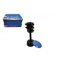 Teddies Semafor funkční plast 12cm na baterie se světlem se zvukem