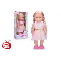 Wiky Eliška chodící panenka 41 cm, růžové šaty