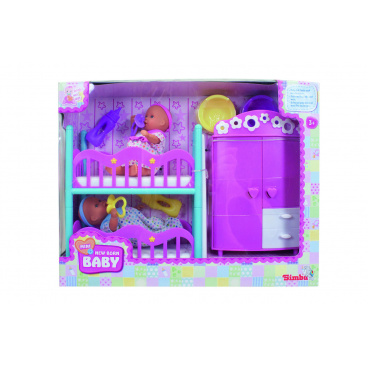 Simba MNB Dětský pokoj + 2 panenky (pije + čůrá) 12 cm