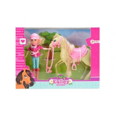 Teddies Panenka žokejka + kůň plast v krabici 26,5x20x7cm