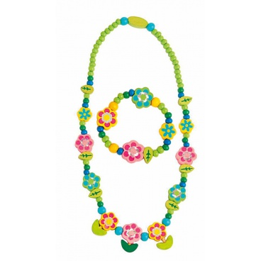 Souprava náhrdelník a náramek - Květiny s lístky