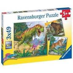 Ravensburger dětské puzzle Dinosauři a čas 3x49 dílků
