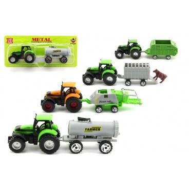 Teddies Traktor s přívěsem plast 16cm asst 6 druhů na kartě