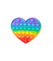 Teddies Bubble pops Pop-it - Praskající bubliny silikon antistresová spol. hra srdce duha 13x11cm v sáčku