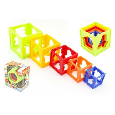 Teddies Kubus pyramida skládanka hranatá plast 5ks v krabičce 15x16x10cm 12m+