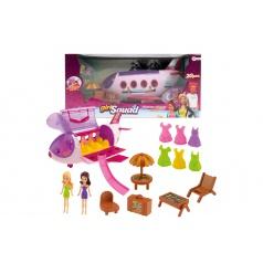 Teddies Letadlo plast s panenkami, oblečky a s plážovým setem 20ks v krabici 44x21x22cm