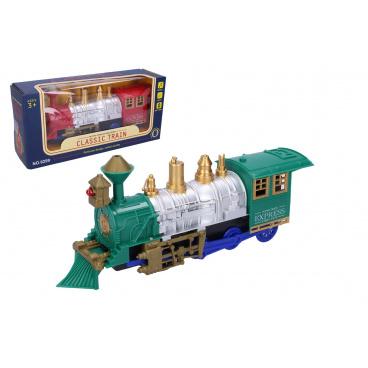 Wiky Vláček/Mašinka plast 27cm na baterie se světlem se zvukem 2 barvy v krabici 29x14x9cm