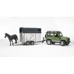 Bruder Land Rover s přívěsem pro přepravu koní včetně koně