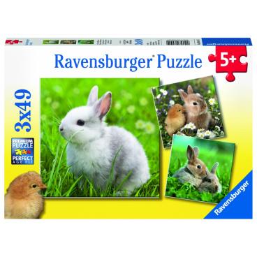 Ravensburger dětské puzzle Roztomilý králíček 3x49 dílků