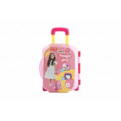 Teddies Súprava krásy / Malá kaderníčky s fénom a doplnky plast 18ks v kufríku na kolieskach 23x33x11cm
