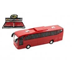 Teddies Autobus červený plast 23cm na setrvačník na baterie se zvukem se světlem 6ks v boxu