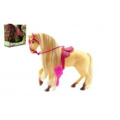 Kůň s hřívou časací s doplňky plast 28cm asst 2 barvy