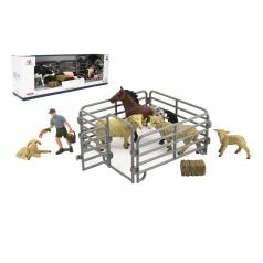 Teddies Zvieratká domáci farma s doplnkami sada plast 3 druhy v krabičke 43x14x10cm