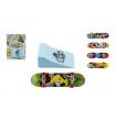 Teddies Skateboard prstový s rampou plast 10cm asst mix barev na kartě