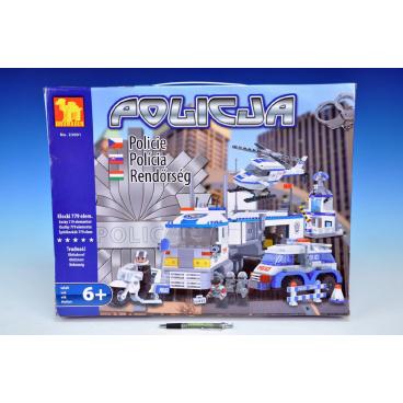 Dromader 23001 Policie Auto+Vrtulník+Stanice 779ks v krabici 55x43x7cm