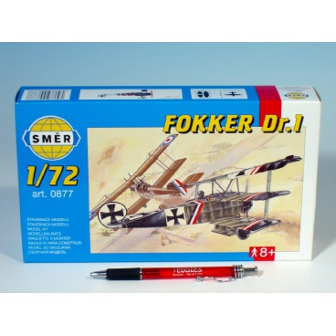 Směr model letadla Fokker DR.1 1:72 8,01x9,98cm v krabici 25x14,5x4,5cm